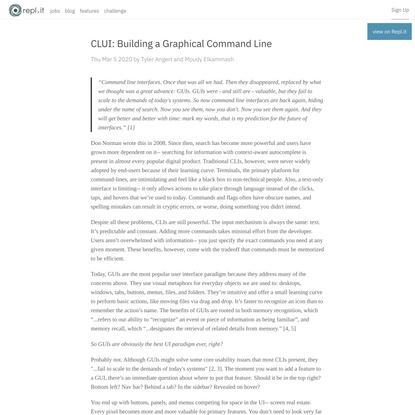 CLUI: Building a Graphical Command Line