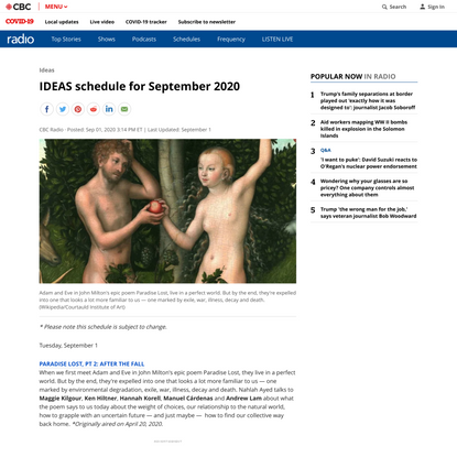 IDEAS schedule for September 2020 | CBC Radio