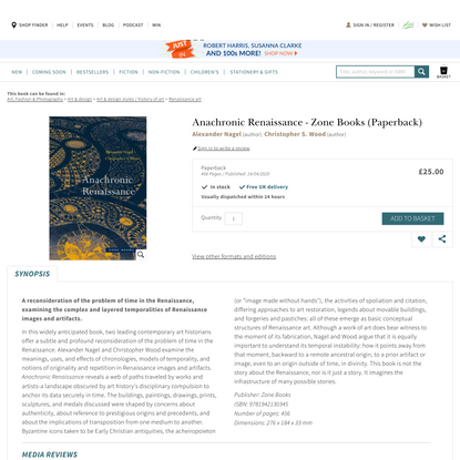 Anachronic Renaissance by Alexander Nagel, Christopher S. Wood   Waterstones