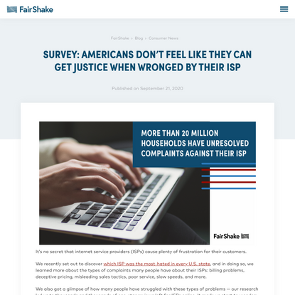 Survey: Americans say they want justice against ISPs - FairShake