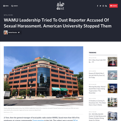 AU Stopped WAMU From Ousting Reporter Accused Of Sexual Harassment