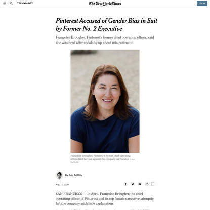 Pinterest Accused of Gender Bias in Suit by Former No. 2 Executive