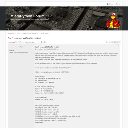 Can't connect WiFi after restart - MicroPython Forum