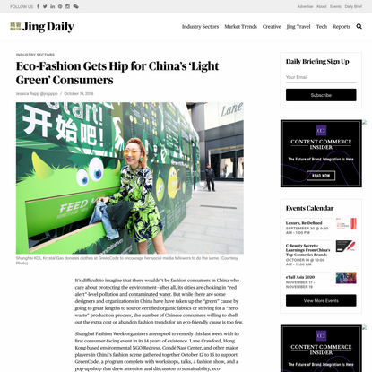 Eco-Fashion Gets Hip for China's 'Light Green' Consumers
