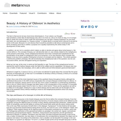 Beauty: A History of 'Oblivion' in Aesthetics - Metanexus