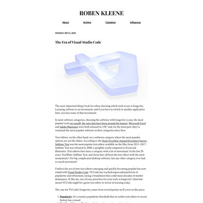 The Era of Visual Studio Code | Roben Kleene