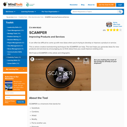 SCAMPER: Improving Products and Services