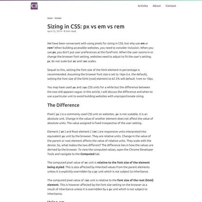 Sizing in CSS: px vs em vs rem   Chiamaka Ikeanyi