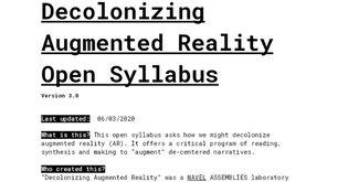 Decolonizing Augmented Reality Open Syllabus