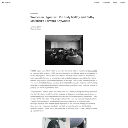 Women in Hypertext: On Judy Malloy and Cathy Marshall's Forward Anywhere — Are.na