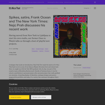 Spikes, satire, Frank Ocean and The New York Times: Nejc Prah discusses his recent work