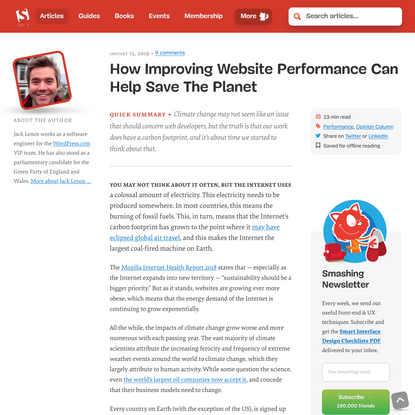 How Improving Website Performance Can Help Save The Planet — Smashing Magazine