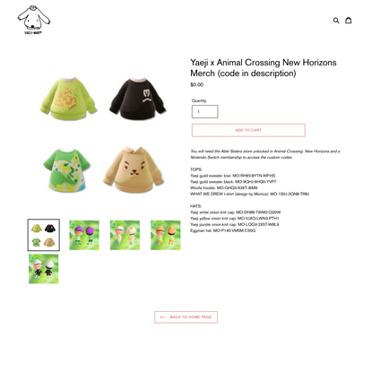 Yaeji x Animal Crossing New Horizons Merch (code in description)