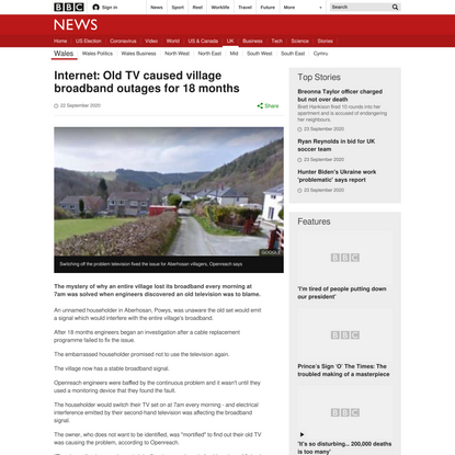 Old TV caused village broadband outages
