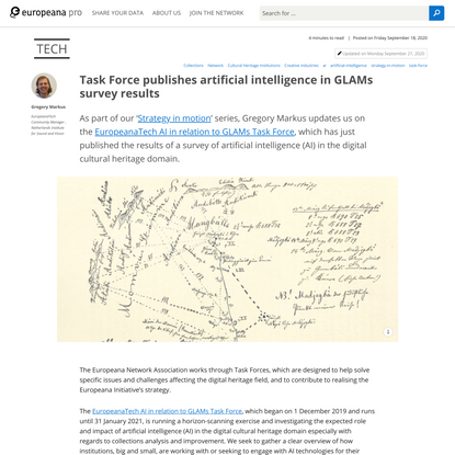 Task Force publishes artificial intelligence in GLAMs survey results | Europeana Pro