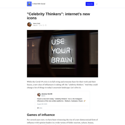 """""""Celebrity Thinkers"""": internet's new icons"""