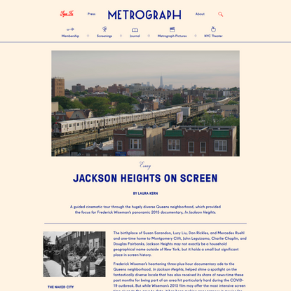 Jackson Heights on Screen - Metrograph