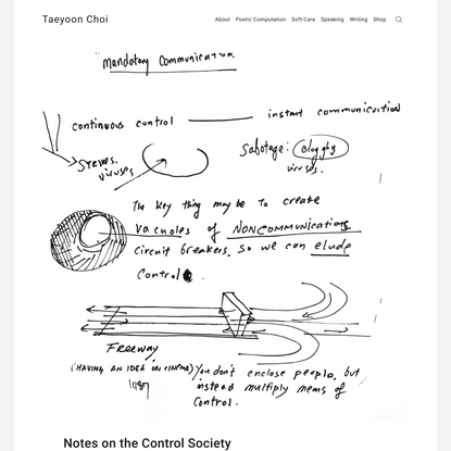 Notes on the Control Society – Taeyoon Choi