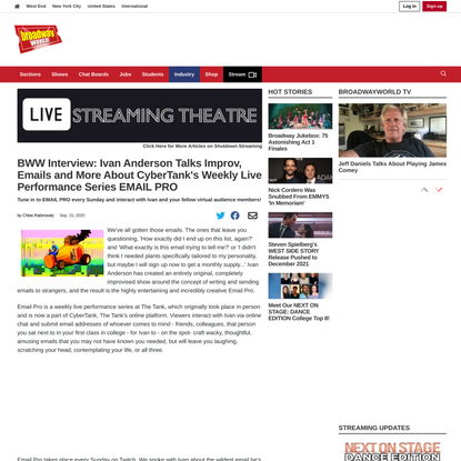 BWW Interview: Ivan Anderson Talks Improv, Emails and More About CyberTank's Weekly Live Performance Series EMAIL PRO