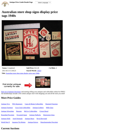 Australian store shop signs display price tags 1940s -- Antique Price Guide Details Page