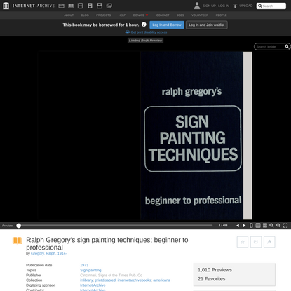 Ralph Gregory's sign painting techniques; beginner to professional : Gregory, Ralph, 1914- : Free Download, Borrow, and Stre...