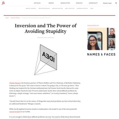 Inversion: The Power of Avoiding Stupidity