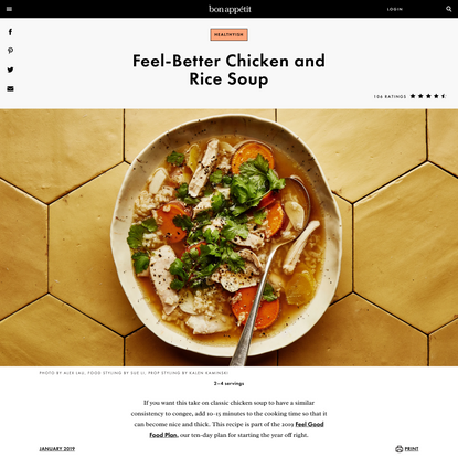 Feel-Better Chicken and Rice Soup Recipe