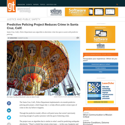 Predictive Policing Project Reduces Crime in Santa Cruz, Calif.