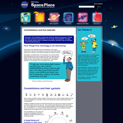 Constellations and the Calendar   NASA Space Place – NASA Science for Kids
