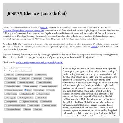 JuniusX font specimen page