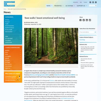 'Awe walks' boost emotional well-being | University of California