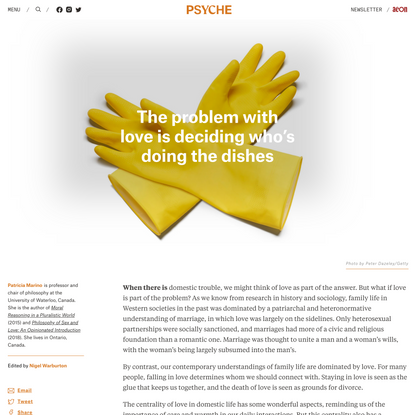 The problem with love is deciding who's doing the dishes | Psyche Ideas