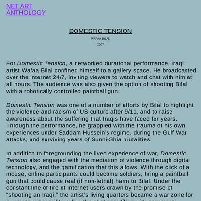 NET ART ANTHOLOGY: Domestic Tension