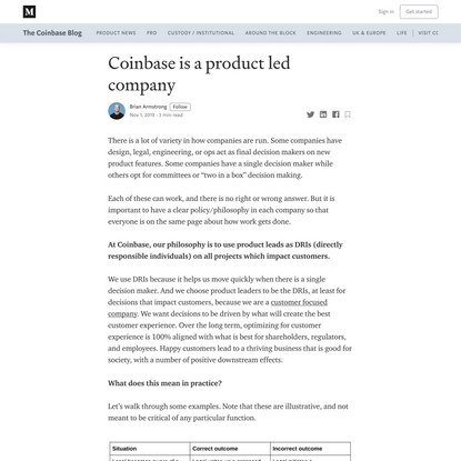 Coinbase is a product led company
