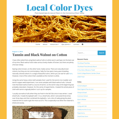 Tannin and Black Walnut on Cotton - Local Color Dyes