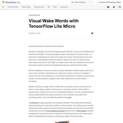 Visual Wake Words with TensorFlow Lite Micro