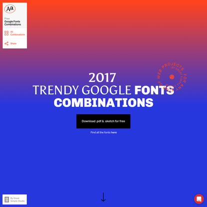2017 Trendy Google Fonts Combinations