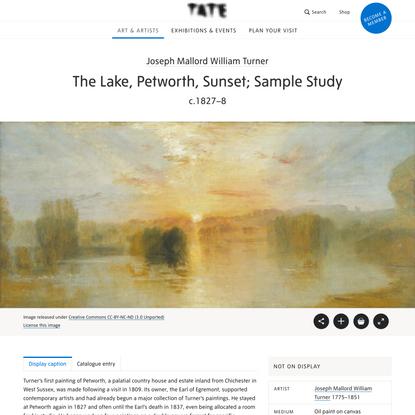 'The Lake, Petworth, Sunset; Sample Study', Joseph Mallord William Turner, c.1827–8 | Tate