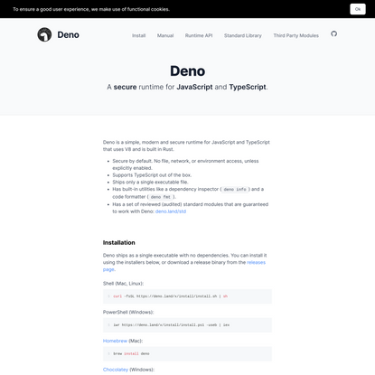 Deno - A secure runtime for JavaScript and TypeScript