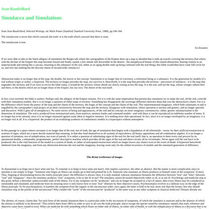 Baudrillard_Simulacra and Simulations