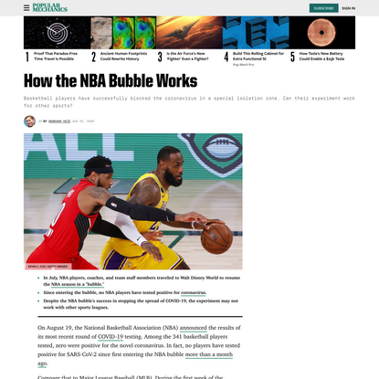 The NBA Bubble Has Successfully Kept COVID-19 Away, But It Probably Can't Work for Other Sports