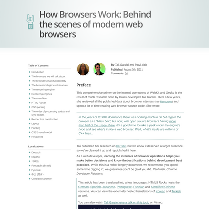 How Browsers Work: Behind the scenes of modern web browsers - HTML5 Rocks