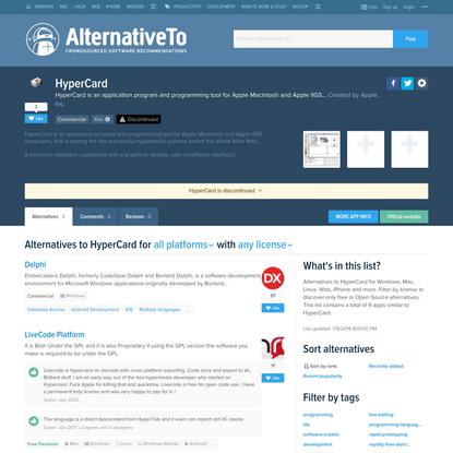 HyperCard Alternatives and Similar Software - AlternativeTo.net