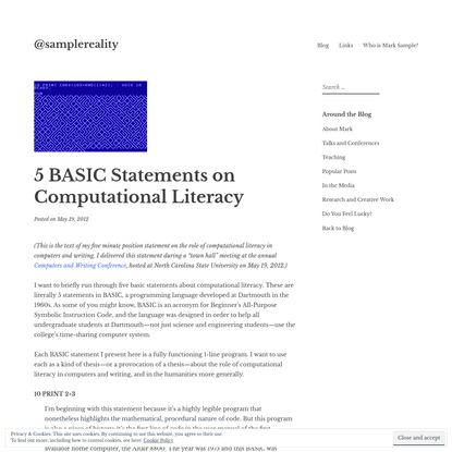 5 BASIC Statements on Computational Literacy