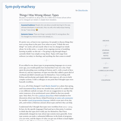 Things I Was Wrong About: Types —Sympolymathesy, by Chris Krycho