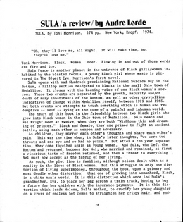 SULA / a review / by Audre Lorde
