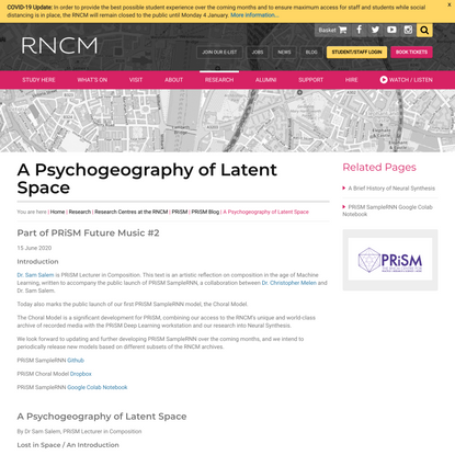 A Psychogeography of Latent Space - Royal Northern College of Music