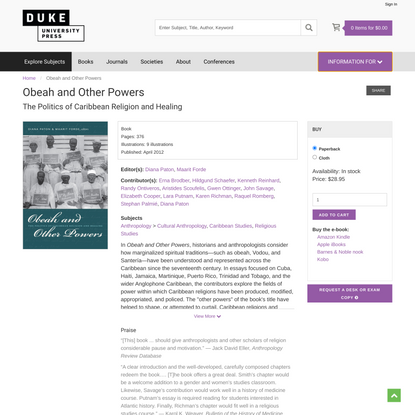 Duke University Press - Obeah and Other Powers