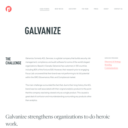 Galvanize Rebrand work by Focus Lab®