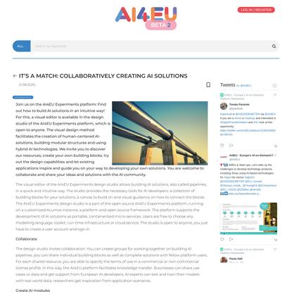 It's a match: Collaboratively creating AI solutions   AI4EU